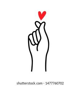 FINGER HEART sign. Korean love symbol. Happy Valentines Day. I love you hand korean heart gesture. Vector illustration self love concept. Hand drawn design for print cards, banner, poster