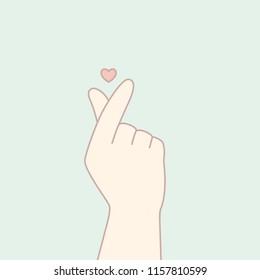 Finger heart. Vector illustration.