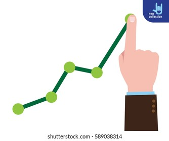 Finger up holding chart arrow.Businessman manages financial growth graph.Profit growing concept. businessVector flat cartoon design illustration.Isolated on white background.