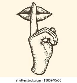 Finger lips sign silence tattoo