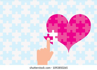 Finger moving puzzle of heart
