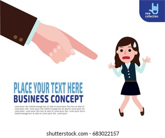 Finger point to Unsuccessful business woman. Concept of not accepted businesspeople. Vector flat cartoon design illustration. Isolated on white background.