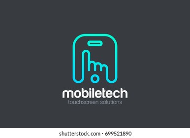Finger press touchscreen of Mobile phone Logo design vector template Linear style.  App media business technology Logotype concept icon.