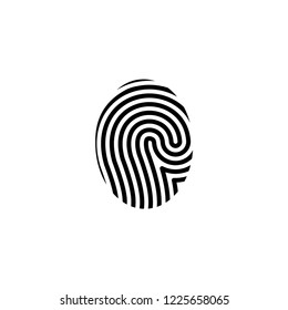 Finger Print Icon Vector on Flat Design and Line Art Style on White Isolated Background.
