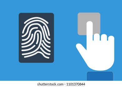 Finger print identification technology concept with device scanning on a modern tablet computer
