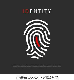 Finger print identity vector eps logo illustration isolated on black background
