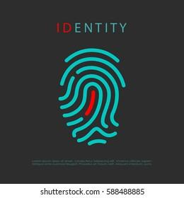 Finger print identity vector logo idea illustration isolated on black background. Abstract security logo