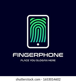Finger print phone vector logo template. This design use modern style. Suitable for secure identity.