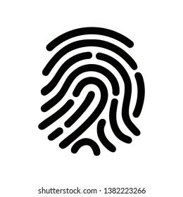 Finger print vector icon illustration isolated on white background. Black fingerprint shape. secure identification