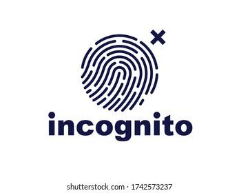 Finger print vector simple logo or icon, incognito man concept, unidentified person, people search, biometric identification.