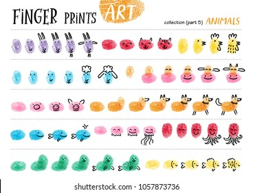 Finger prints art. The step-by-step instruction teaches your kids how to make farm and sea animals. Collection in vector. Animals. Part 5.