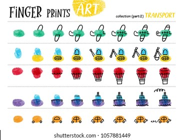 Finger prints art. The step-by-step instruction teaches your kids how to make different modes of transport. Collection in vector. Transport. Part 2.