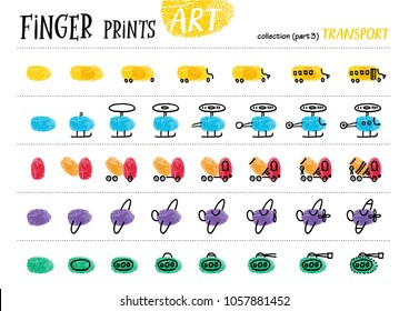 Finger prints art. The step-by-step instruction teaches your kids how to make different modes of transport. Collection in vector. Transport. Part 3.