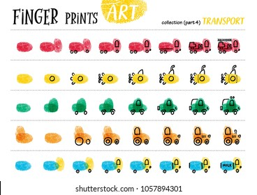 Finger prints art. The step-by-step instruction teaches your kids how to make different modes of transport. Collection in vector. Transport. Part 4.