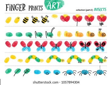 Finger prints art. The step-by-step instruction teaches your kids how to make cute insects. Collection in vector. Insects. Part 2.