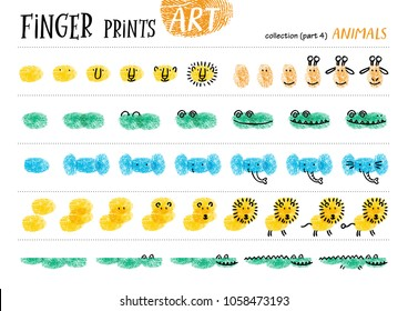 Finger prints art. The step-by-step instruction teaches your kids how to make different African animals. Collection in vector. Animals. Part 4.