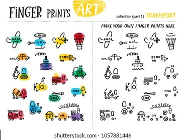 Finger prints art. The task teaches your kids how to make different modes of transport. Collection in vector. Transport. Part 1.