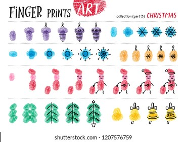Finger prints art. The task teaches your kids how to make different Christmas  attributes. Collection in vector. Christmas. Part 3.