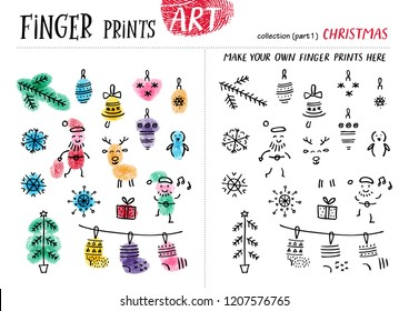 Finger prints art. The task teaches your kids how to make different Christmas  attributes. Collection in vector. Christmas. Part 1.