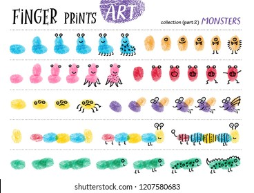 Finger prints art. The task teaches your kids how to make different monsters. Collection in vector. Monsters. Part 2.
