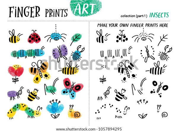 Finger Prints Art Task Teaches Your Stock Vector (Royalty