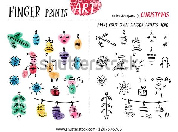 Finger Prints Art Task Teaches Your Stock Vector (Royalty Free
