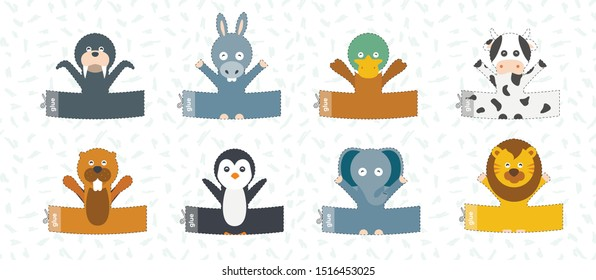 Finger puppet theater. Cut Out template. Zoo animals puppets. Kids crafts activity page. Game worksheet. Animals doll collection. Vector illustration.