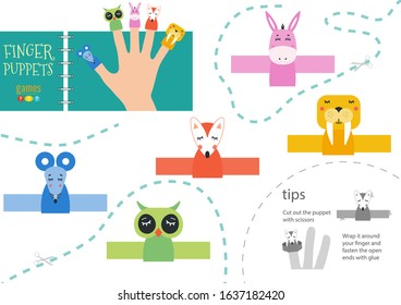 Finger puppet vector animals. Cut and glue educational worksheet with donkey, mouse, owl for little children. Collection of hand puppets for children show