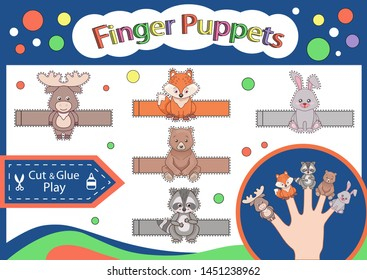 Finger puppets. Cut and glue the paper animals doll. Worksheet with children art game. Kids crafts activity page. Create toys yourself. 3d gaming puzzle. Birthday decor. Vector illustration.