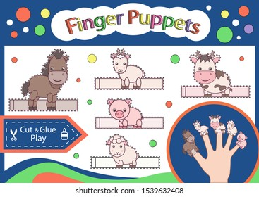 Finger puppets. Cut and glue the paper cute animals doll. Worksheet with children art game. Kids crafts activity page. Create toys farm animals. 3d gaming puzzle. Birthday decor. Vector illustration.