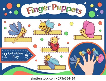 Finger puppets. Cut and glue the paper cute insects doll. Worksheet with children art game. Kids crafts activity page. Create toys. Birthday decor. Vector illustration.