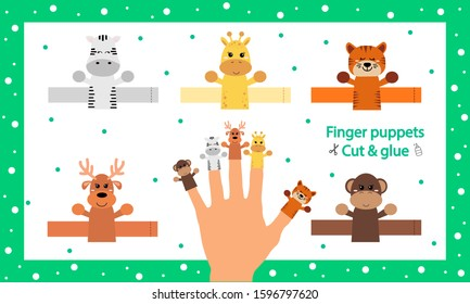 Finger puppets. Vector illustration. Cut and glue the paper cute animals doll. Create toys farm animals. 3d gaming puzzle. Birthday decor. Worksheet with children art game.