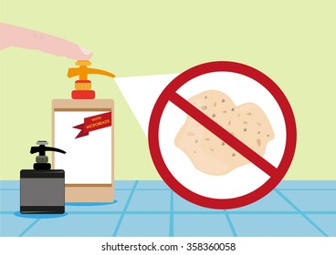 Finger pushes a bottle of bath wash or cream with Microbeads. Editable Clip Art.