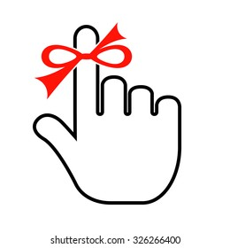 Finger with red string isolated on white background