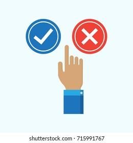 Finger select yes or no sign vector illustration.