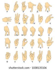 Finger sign language (cyrilic)