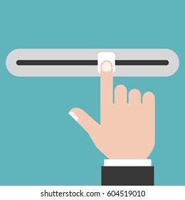 Finger sliding the slider button, flat design