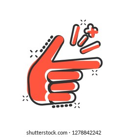 Finger snap icon in comic style. Fingers expression vector cartoon illustration pictogram. Snap gesture business concept splash effect.