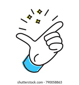 finger snapping hand gesture vector icon