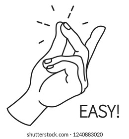 Finger Snapping Outlin, Hand Click Gesture. Easy Concept expression illustration. Human wrist palm and fingers flick. Vector