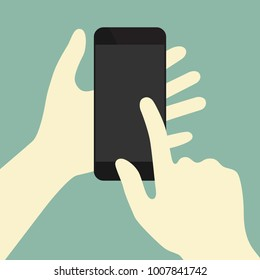 Finger swiping phone concept illustration