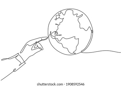 Finger touch globe earth. Single continuous line world global map graphic icon. Simple one line doodle for technology concept. isolated vector illustration minimalist design on white background