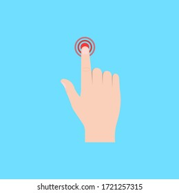Finger to touch. Hand touching. Vector illustration. Flat design.
