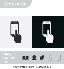 Finger touch screen flat black and white vector icon.