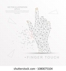 Finger touch shape point, line and composition digitally drawn in the form of broken a part triangle shape and scattered dots low poly wire frame on white background.