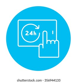Finger touching 24 hours service button on a touchscreen line icon for web, mobile and infographics. Vector white icon on the light blue circle isolated on white background.