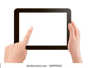 Finger touching digital tablet screen. Vector.