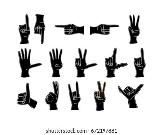 Finger vector icon. Vector Illustration isolated for graphic and web design. Hand count. Flat finger and number. One, two, three, four, five. Set of hands in different gestures emotions and signs