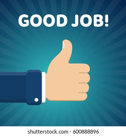 "Finger up vector illustration with ""Good job"" text on blue radial gradient background. Thumb up image."