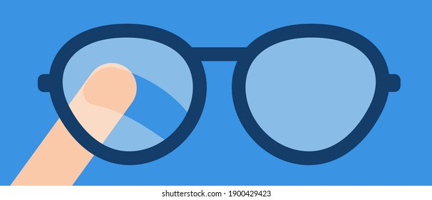 Finger wipes the misted glass of the eyeglasses. Vector flat illustration. Concept of the problem of condensation on glasses for the visually impaired. Lack of hygiene products